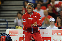 Minora Ueda, Japan Coach, MARCH 05, 2016 - Tennis : Minora Ueda, Japan Coach, reacts during the Davis Cup by PNB Paribas , World Group first round doubles match between Great Britain and Japan at The Barclaycard Arena, Birmingham, United Kingdom. (Photo by Rob Munro/AFLO)