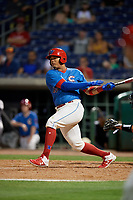 Clearwater Threshers Jhailyn Ortiz (26) bats during a Florida State League game against the Tampa Tarpons on April 18, 2019 at Spectrum Field in Clearwater, Florida.  Clearwater defeated Tampa 10-3.  (Mike Janes/Four Seam Images)