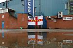 A Bury FC flag outside Gigg Lane. 28/08/2019. Gigg Lane, Bury. Photo by Paul Thompson.