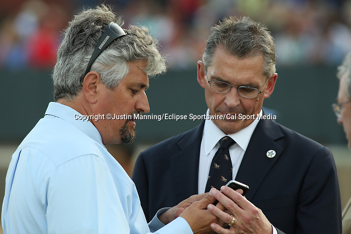 April 12, 2014: Tapiture trainer Steve Asmussen before the running of the Arkansas Derby at Oaklawn Park in Hot Springs, AR. Justin Manning/ESW/CSM