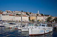 Boats in the harbour in Mali Losinj on the island of Losinj in the Kvarner region, Croatia, Adriatic, Europe