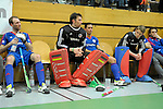 GER - Luebeck, Germany, February 06: After the 1. Bundesliga Herren indoor hockey semi final match at the Final 4 between Uhlenhorst Muelheim (white) and Mannheimer HC (blue) on February 6, 2016 at Hansehalle Luebeck in Luebeck, Germany.  Final score 7-5 (HT 2-3). (Photo by Dirk Markgraf / www.265-images.com) *** Local caption ***?(L-R) Fabian Pehlke #23 of Mannheimer HC, Andreas Spaeck #1 of Mannheimer HC, Patrick Harris #17 of Mannheimer HC, Lukas Stumpf #4 of Mannheimer HC