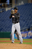 Jupiter Hammerheads relief pitcher Lukas Schiraldi (45) gets ready to deliver a pitch during a game against the Clearwater Threshers on April 12, 2018 at Spectrum Field in Clearwater, Florida.  Jupiter defeated Clearwater 8-4.  (Mike Janes/Four Seam Images)