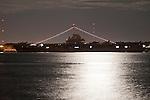 USS Yorktown Aircraft Carrier at night Charleston South Carolina
