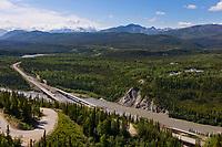 Nenana river and the George Parks highway at the entrance to Denali National Park, Interior, Alaska.