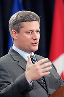 April 2006 File Photo - Montreal (Quebec) CANADA - Newly elected Canadian prime minister Stephen Harper speaks at the Montreal Chamber of commerce were 1700 business people attended here in Montreal.<br /> Picture by Raffi Kirdi Copyright by Raffi Kirdi (©) 2006