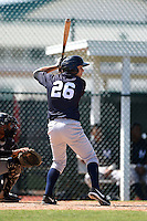 Outfielder Dustin Fowler (26) of the New York Yankees organization during a minor league spring training game against the Pittsburgh Pirates on March 22, 2014 at Pirate City in Bradenton, Florida.  (Mike Janes/Four Seam Images)