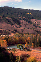 Cariboo Chilcotin Coast Region, BC, British Columbia, Canada - Old Historic Homestead along Chilcotin River in Farwell Canyon, Autumn / Fall