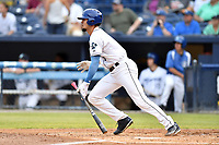 Asheville Tourists right fielder Willie Abreu (6) swings at a pitch during a game against the Rome Braves at McCormick Field on June 12, 2017 in Asheville, North Carolina. The Tourists defeated the Braves 7-0. (Tony Farlow/Four Seam Images)