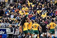 Lukhan Salakaia-Loto of the Australia Wallabies catches the ball during the Bledisloe Cup - New Zealand v Australia at Sky Stadium, Wellington, New Zealand on Sunday 11 October 2020. <br /> Photo by Masanori Udagawa. <br /> www.photowellington.photoshelter.com