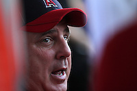 Los Angeles Angels manager Mike Scioscia #14 before a game against the Texas Rangers at Angel Stadium on September 27, 2011 in Anaheim,California. Texas defeated Los Angeles 10-3.(Larry Goren/Four Seam Images)