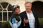 Bill Mott the trainer of Amira's Prince and John Velazquez after winning the Mac Diarmida (G2T) at Gulfstream Park . Gulfstream Park. Hallandale Beach Florida. 02-16-2013