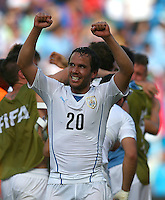Alvaro Gonzalez of Uruguay celebrates at full time