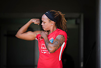 CARY, NC - SEPTEMBER 12: Jessica McDonald #14 of the NC Courage flexes before a game between Portland Thorns FC and North Carolina Courage at WakeMed Soccer Park on September 12, 2021 in Cary, North Carolina.