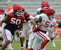 Arkansas running back Raheim Sanders (5) carries the ball Saturday, April 3, 2021, as defensive lineman Eric Gregory (50) pursues during a scrimmage at Razorback Stadium in Fayetteville. Visit nwaonline.com/210404Daily/ for today's photo gallery. <br /> (NWA Democrat-Gazette/Andy Shupe)