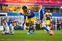 Saturday 25 January 2014<br /> Pictured: Wilfried Bony is stopped dead by the Birmingham defence<br /> Re: Birmingham City v Swansea City FA Cup fourth round match at St. Andrew's Birimingham