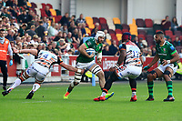 9th October 2021; Brentford Community Stadium, Brentford, London; Gallagher Premiership Rugby, London Irish versus Leicester Tigers; Nick Phipps of London Irish runs into contact with Nadolo of Leicester Tigers