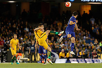 June 7, 2016: BAILEY WRIGHT (8) of Australia kicks the ball during an international friendly match between the Australian Socceroos and Greece at Etihad Stadium, Melbourne. Photo Sydney Low