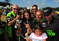 Aug. 7, 2011; Kent, WA, USA; NHRA top alcohol funny car driver Alexis DeJoria celebrates after winning the Northwest Nationals at Pacific Raceways. Mandatory Credit: Mark J. Rebilas-