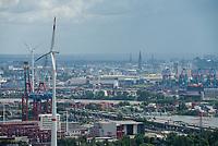 GERMANY, Hamburg, view from Siemens wind turbine to Container terminal in the harbour / DEUTSCHLAND, Hamburg, Blick vom Trimet Gelaende, von einer Siemens Windkraftanlage des kommunalen Stromerzeuger Hamburg Energie auf Eurokai Containerterminal im Hafen, Autobahn, Fluss Elbe und Nordex WKA von Hamburg Wasser/Hamburg Energie, hinten rechts Elbphilharmonie