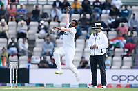 Jasprit Bumrah, India passes Richard Illingworth, Umpire as he bowls during India vs New Zealand, ICC World Test Championship Final Cricket at The Hampshire Bowl on 23rd June 2021