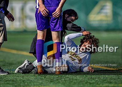 5 October 2019: University of Vermont Catamount Forward JoJo Moulton-Condiotti, a Freshman from Brooklyn, NY, is tended to after a strike to the head during game action against the University at Albany Great Danes on Virtue Field in Burlington, Vermont. The Catamounts fell to the visiting Danes 3-1 in America East, Division 1 play. Mandatory Credit: Ed Wolfstein Photo *** RAW (NEF) Image File Available ***