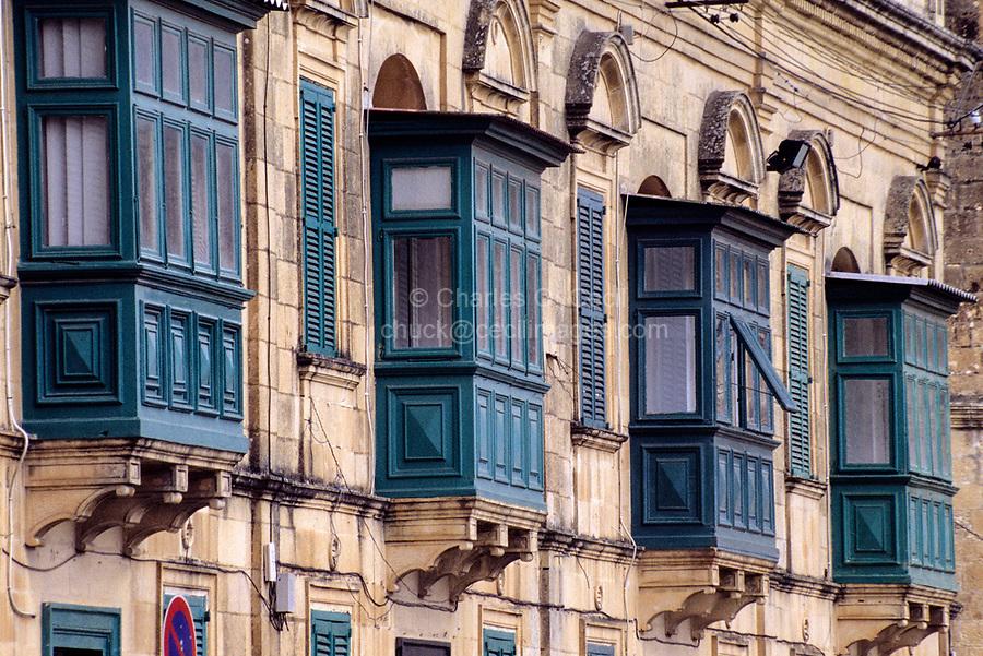 Victoria, Gozo. - Enclosed Balcony Windows.  Galuria, Gallerjia.
