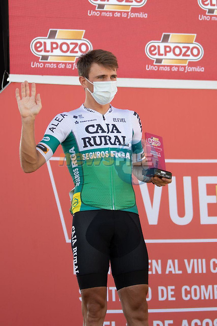 Jonathan Lastra (ESP) Caja Rural-Seguros RGA most aggressive rider from yesterday's stage at sign on before the start of Stage 12 of La Vuelta d'Espana 2021, running 175km from Jaén to Córdoba, Spain. 26th August 2021.   <br /> Picture: Cxcling | Cyclefile<br /> <br /> All photos usage must carry mandatory copyright credit (© Cyclefile | Cxcling)