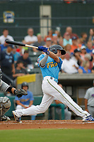 Myrtle Beach Pelicans designated hitter Jared Young (3) at bat during a game against the Winston-Salem Dash at Ticketreturn.com Field at Pelicans Ballpark on July 23, 2018 in Myrtle Beach, South Carolina. Winston-Salem defeated Myrtle Beach 6-1. (Robert Gurganus/Four Seam Images)