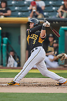 Joe Hudson (19) of the Salt Lake Bees bats against the Nashville Sounds at Smith's Ballpark on July 28, 2018 in Salt Lake City, Utah. The Bees defeated the Sounds 11-6. (Stephen Smith/Four Seam Images)
