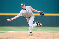 Relief pitcher Ryan Thompson (27) of the Campbell Camels pitches in an NCAA Division I Baseball Regional Tournament game against the Old Dominion Monarchs on Saturday, May 31, 2014, at Carolina Stadium in Columbia, South Carolina. Campbell won, 4-1 in 12 innings and Thompson picked up the win. (Tom Priddy/Four Seam Images)