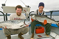 Catch of the day while charter fishing for salmon and halibut in Sitka, Alaska.