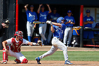 Cameron Newell #12 of the UC Santa Barbara Gauchos bats against the Cal State Northridge Matadors at Matador Field on May 11, 2013 in Northridge, California. UC Santa Barbara defeated Cal State Northridge, 6-2. (Larry Goren/Four Seam Images)
