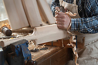 BNPS.co.uk (01202) 558833<br /> Pic: ZacharyCulpin/BNPS<br /> <br /> Tim Keeley carves a bat into shape<br /> <br /> Master bat maker Tim Keeley is putting the finishing touches to his beautifully hand-crafted pieces of willow ahead of the forthcoming cricket season.<br /> <br /> Tim, 62, has made almost half a million bats since starting out as an apprentice at Gray Nicholls aged 16 in 1975.<br /> <br /> He is the founder of family business Keeley Cricket, in Battle, East Sussex, which he runs with his brother Nick who has 35 years of bat-making experience.