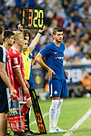 Chelsea Forward Alvaro Morata (R) getting into the field during the International Champions Cup match between Chelsea FC and FC Bayern Munich at National Stadium on July 25, 2017 in Singapore. Photo by Weixiang Lim / Power Sport Images