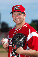 Batavia Muckdogs pitcher Joe Cuda #27 poses for a photo during media day at Dwyer Stadium on June 14, 2012 in Batavia, New York.  (Mike Janes/Four Seam Images)