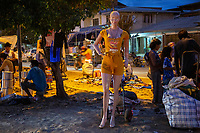 A female dummy is exhibited during a Sunday market at night, in Eterazama town, Chapare region, Bolivia. December 01, 2019.<br /> Une mannequin femelle est exposée lors d'un marché dominical nocturne, dans la ville d'Eterazama, région du Chapare, Bolivie. 01 décembre 2019.