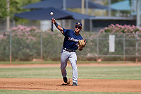 Milwaukee Brewers third baseman Dallas Carroll (40) makes a throw to first base during an Instructional League game against the San Diego Padres on September 27, 2017 at Peoria Sports Complex in Peoria, Arizona. (Zachary Lucy/Four Seam Images)