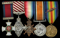 BNPS.co.uk (01202) 558833<br /> Pic: Spink&Son/BNPS<br /> <br /> The heroics of an all-action British officer during a daring trench raid can be revealed after his gallantry medals emerged for sale.<br /> <br /> Captain William Algie led from the front killing eight of the enemy with his revolver, then hurled bombs to keep their reinforcements at bay.<br /> <br /> He subsequently blew up a German ammunition dump, took prisoners, tended to wounded soldiers and withdrew his men under heavy fire.<br /> <br /> A few months later, Capt Algie converted to the Royal Flying Corps and became part of an acclaimed duo who took part in bombing, special operations and photo reconnaissance raids over France.<br /> <br /> After completing his pilot training, he was posted to the 'home defence' force, flying Sopwiths in pursuit of Gotha Bombers who launched raids on London and south east England. His medal group, including a Distinguished Service Order, is tipped to fetch £3,500 with auctioneers Spink & Son.