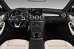 Stock photo of straight dashboard view of 2018 Mercedes Benz C-Class AMG-C43 2 Door Coupe Dashboard