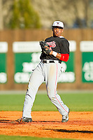 Delaware State Hornets shortstop DJ Miller (8) on defense against the Charlotte 49ers at Robert and Mariam Hayes Stadium on February 15, 2013 in Charlotte, North Carolina.  The 49ers defeated the Hornets 13-7.  (Brian Westerholt/Four Seam Images)