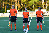 Assistant referee Bryan Bijnens, match referee Jana van Laere  and assistant referee Joline Delcroix pictured during the line up before a female soccer game between  Racing Genk Ladies and Eendracht Aalst on the 5 th matchday of play off 2 in the 2020 - 2021 season of Belgian Scooore Womens Super League , friday 7 th of May 2021  in Genk , Belgium . PHOTO SPORTPIX.BE | SPP | JILL DELSAUX