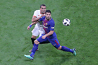Sevilla FC's Gabriel Mercado (l) and FC Barcelona's Luis Suarez during Spanish King's Cup Final match. April 21,2018. (ALTERPHOTOS/Acero)