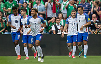 Mexico City, Mexico - Sunday June 11, 2017: Michael Bradley, Paul Arriola, Bobby Wood, DeAndre Yedlin and Christian Pulisic and the USMNT celebrate a Michael Bradley goal during a 2018 FIFA World Cup Qualifying Final Round match with both men's national teams of the United States (USA) and Mexico (MEX) playing to a 1-1 draw at Azteca Stadium.
