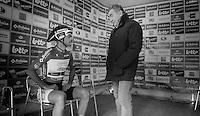 Tour of Belgium 2013.stage 3: iTT..Eddy Merckx (BEL) checking in on Tom Boonen (BEL) at the start.
