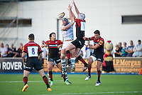 20130803 Copyright onEdition 2013 ©<br />Free for editorial use image, please credit: onEdition.<br /><br />Juiliano Fiore of London Irish 7s (left) and Eoin Sheriff of Saracens 7s reach for the high ball during the J.P. Morgan Asset Management Premiership Rugby 7s Series.<br /><br />The J.P. Morgan Asset Management Premiership Rugby 7s Series kicks off for the fourth season on Thursday 1st August with Pool A at Kingsholm, Gloucester with Pool B being played at Franklin's Gardens, Northampton on Friday 2nd August, Pool C at Allianz Park, Saracens home ground, on Saturday 3rd August and the Final being played at The Recreation Ground, Bath on Friday 9th August. The innovative tournament, which involves all 12 Premiership Rugby clubs, offers a fantastic platform for some of the country's finest young athletes to be exposed to the excitement, pressures and skills required to compete at an elite level.<br /><br />The 12 Premiership Rugby clubs are divided into three groups for the tournament, with the winner and runner up of each regional event going through to the Final. There are six games each evening, with each match consisting of two 7 minute halves with a 2 minute break at half time.<br /><br />For additional images please go to: http://www.w-w-i.com/jp_morgan_premiership_sevens/<br /><br />For press contacts contact: Beth Begg at brandRapport on D: +44 (0)20 7932 5813 M: +44 (0)7900 88231 E: BBegg@brand-rapport.com<br /><br />If you require a higher resolution image or you have any other onEdition photographic enquiries, please contact onEdition on 0845 900 2 900 or email info@onEdition.com<br />This image is copyright the onEdition 2013©.<br /><br />This image has been supplied by onEdition and must be credited onEdition. The author is asserting his full Moral rights in relation to the publication of this image. Rights for onward transmission of any image or file is not granted or implied. Changing or deleting Copyright information is illegal as specified in the