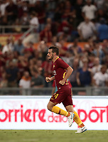 Calcio, Serie A: Roma - Atalanta, Stadio Olimpico, 27 agosto, 2018.<br /> Roma's Alessandro Florenzi celebrates after scoring during the Italian Serie A football match between Roma and Atalanta at Roma's Stadio Olimpico, August 27, 2018.<br /> UPDATE IMAGES PRESS/Isabella Bonotto