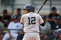 GCL Tigers West third baseman Jose Salas (12) at bat during a game against the GCL Yankees West on August 10, 2018 at Yankee Complex in Tampa, Florida.  GCL Yankees West defeated GCL Tigers West 6-5.  (Mike Janes/Four Seam Images)