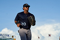 Tampa Tarpons outfielder Jasson Dominguez (20) jogs to the dugout during Game Two of the Low-A Southeast Championship Series against the Bradenton Marauders on September 22, 2021 at LECOM Park in Bradenton, Florida.  (Mike Janes/Four Seam Images)