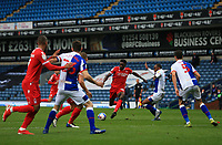 17th October 2020; Ewood Park, Blackburn, Lancashire, England; English Football League Championship Football, Blackburn Rovers versus Nottingham Forest ; Alex Mighten of Nottingham Forestbeats Ryan Nyambe of Blackburn Rovers to fins space to shoot from the edge of the penalty area